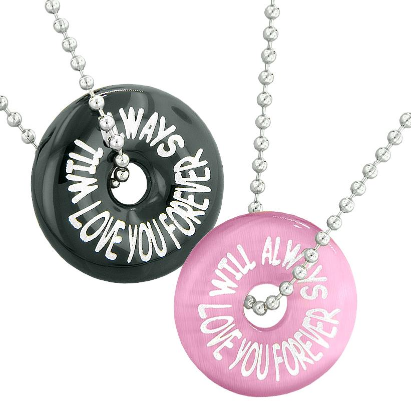 Will Always Love You Forever Best Friends Couples Amulets Agate Pink Simulated Cats Eye Necklaces