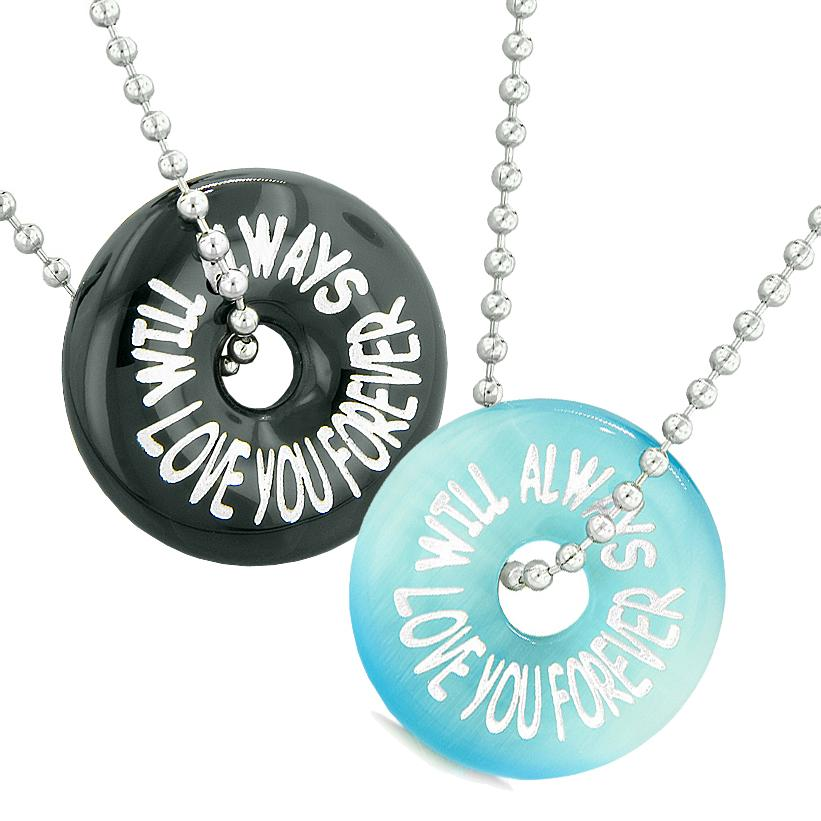 Will Always Love You Forever Best Friends Couples Amulets Agate Blue Simulated Cats Eye Necklaces