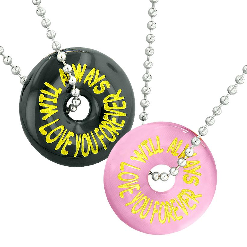 Will Always Love You Forever Best Friends Couples Amulets Pink Simulated Cats Eye Agate Necklaces