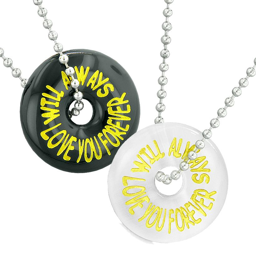 Will Always Love You Forever Best Friends Couples Amulets Agate White Simulated Cats Eye Necklaces