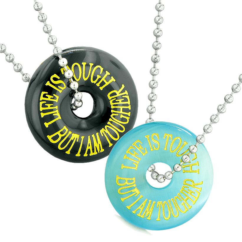 Life is Tough But I am Tougher Best Friends Couples Amulets Blue Simulated Cats Eye Agate Necklaces