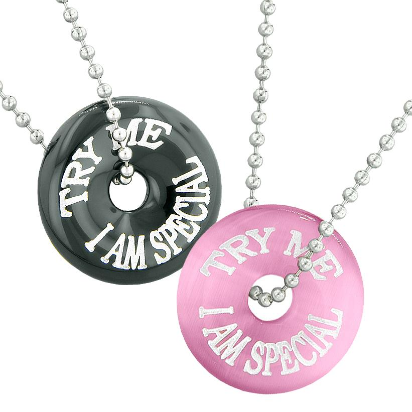 Try Me I Am Special Fun Best Friends Love Couples Amulets Agate Pink Simulated Cats Eye Necklaces