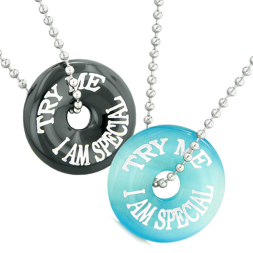Try Me I Am Special Fun Best Friends Love Couples Amulets Agate Blue Simulated Cats Eye Necklaces