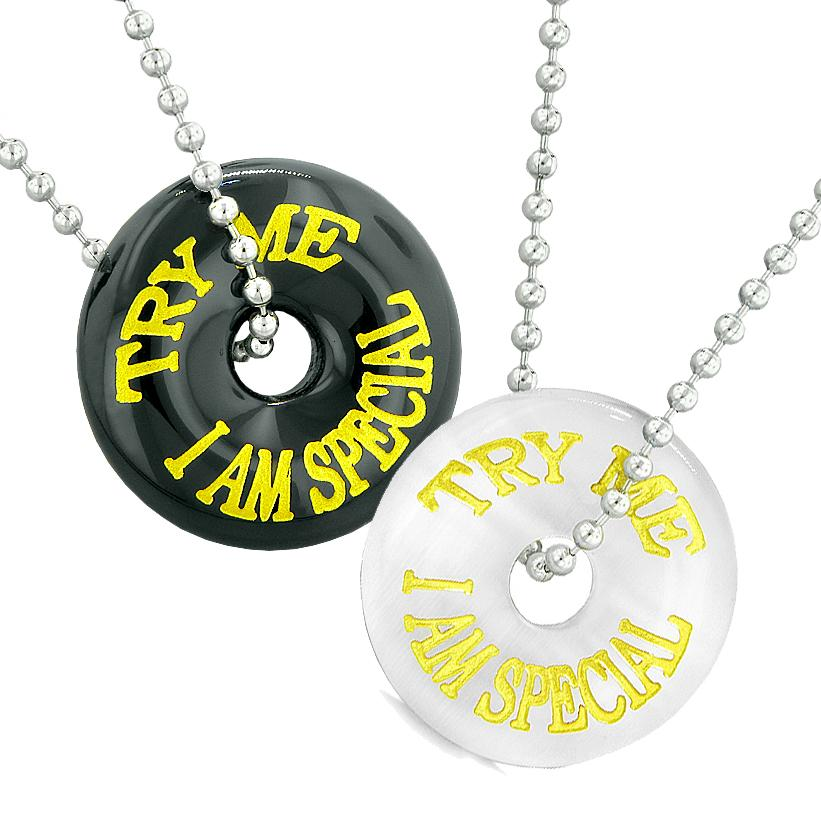 Try Me I Am Special Fun Best Friends Love Couples Amulets Agate White Simulated Cats Eye Necklaces