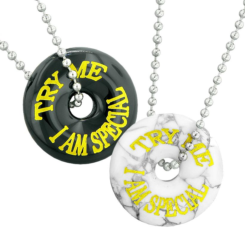 Try Me I Am Special Fun Love Couples or Best Friends Amulets White Howlite Black Agate Necklaces