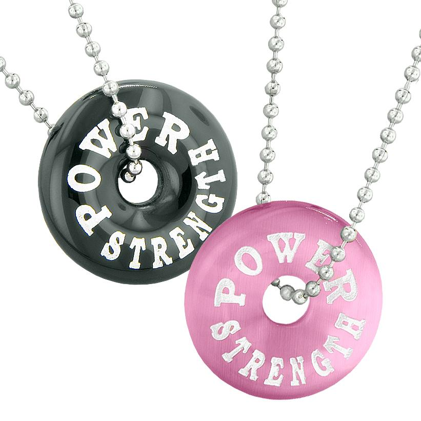 Power Strength Best Friends or Love Couples Amulets Black Agate Pink Simulated Cats Eye Necklaces