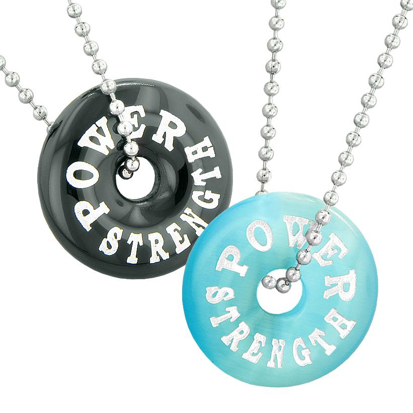 Power Strength Best Friends or Love Couples Amulets Black Agate Blue Simulated Cats Eye Necklaces