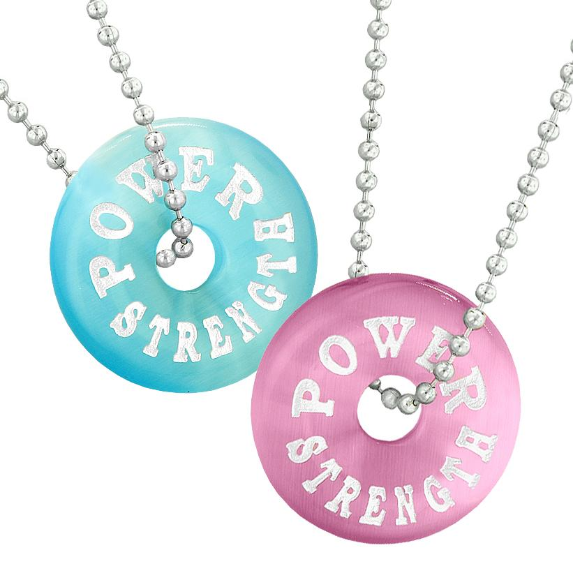 Power Strength Best Friends or Love Couples Amulets Pink Sky Blue Simulated Cats Eye Necklaces