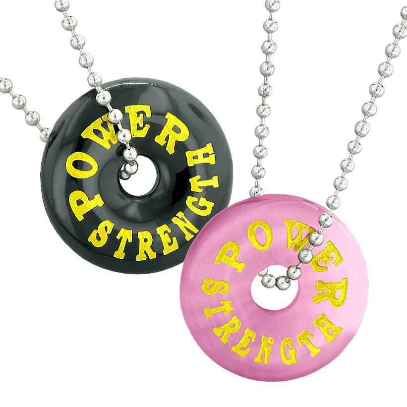 Power Strength Best Friends or Love Couples Amulets Pink Simulated Cats Eye Black Agate Necklaces