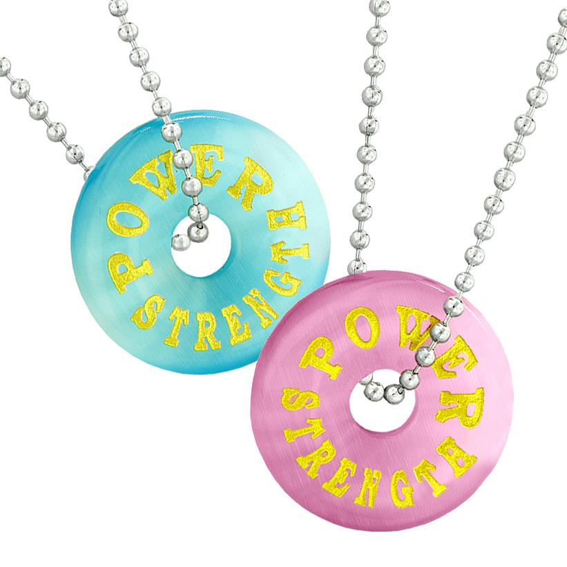 Power Strength Best Friends or Love Couples Amulets Sky Blue Pink Simulated Cats Eye Necklaces