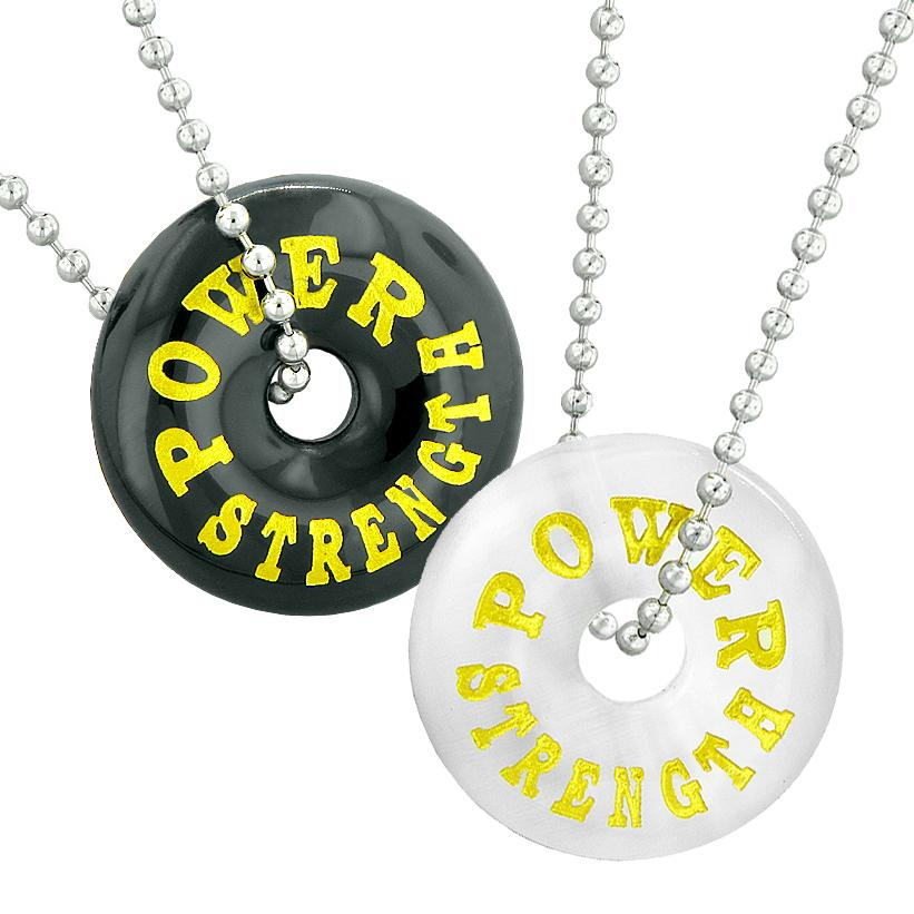 Power Strength Best Friends or Love Couples Amulets Black Agate White Simulated Cats Eye Necklaces