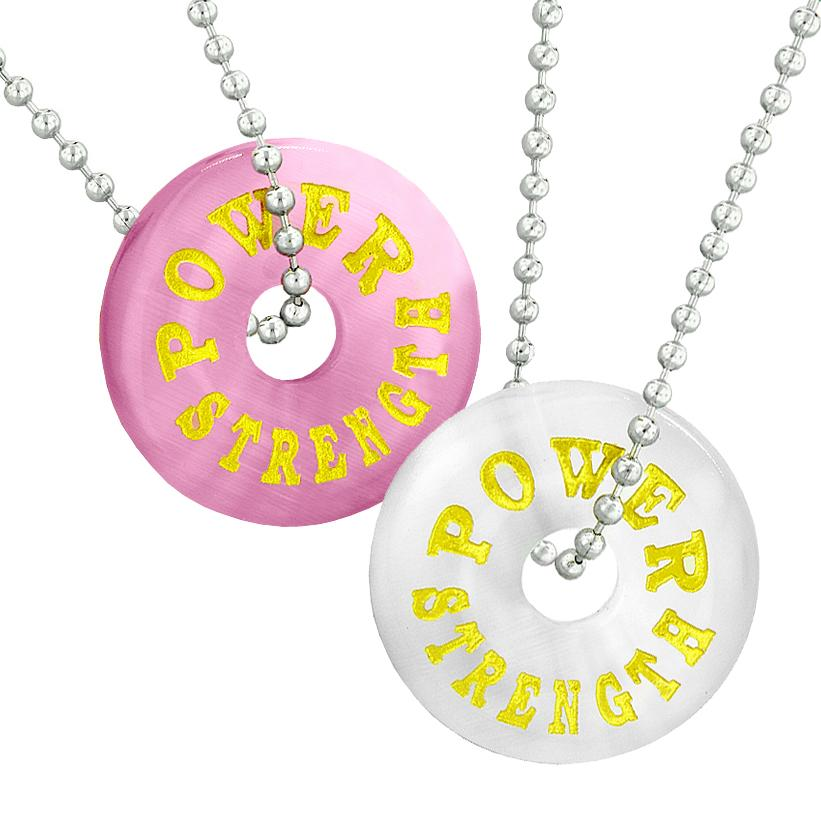 Power and Strength Best Friends or Love Couples Amulets White and Pink Simulated Cats Eye Necklaces