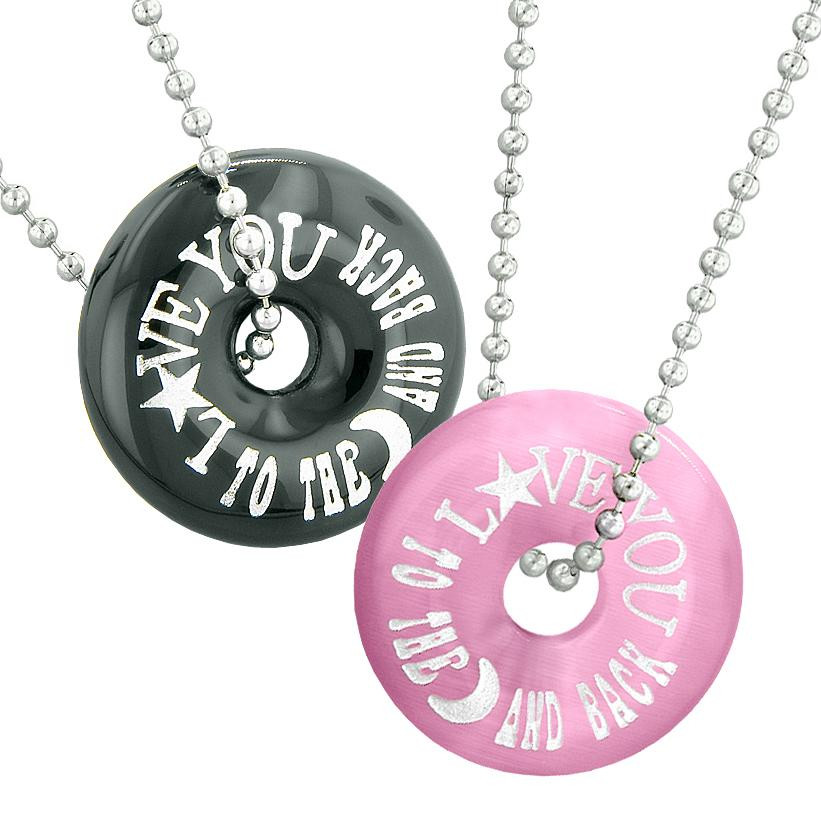 Love You to the Moon and Back Best Friends Couples Amulets Agate Pink Simulated Cats Eye Necklaces