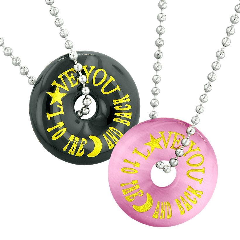 Love You to the Moon and Back Best Friends Couples Amulets Pink Simulated Cats Eye Agate Necklaces