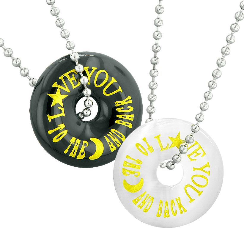Love You to the Moon and Back Best Friends Couples Amulets Agate White Simulated Cats Eye Necklaces