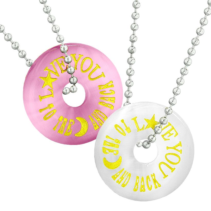 Love You to the Moon and Back Best Friends Couples Amulets Pink White Simulated Cats Eye Necklaces