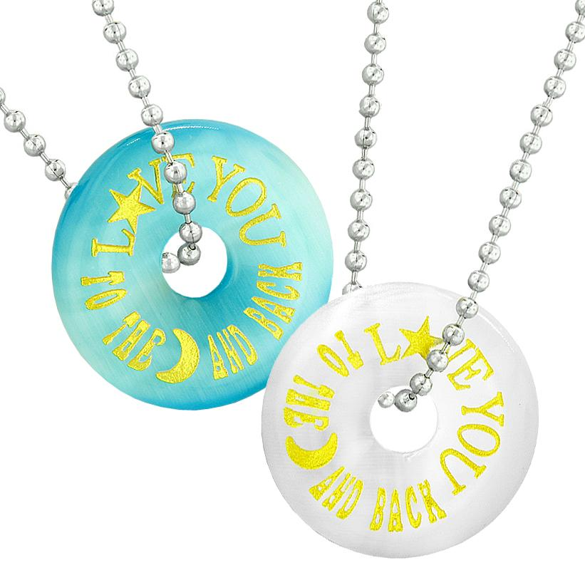 Love You to the Moon and Back Best Friends Couples Amulets Blue White Simulated Cats Eye Necklaces