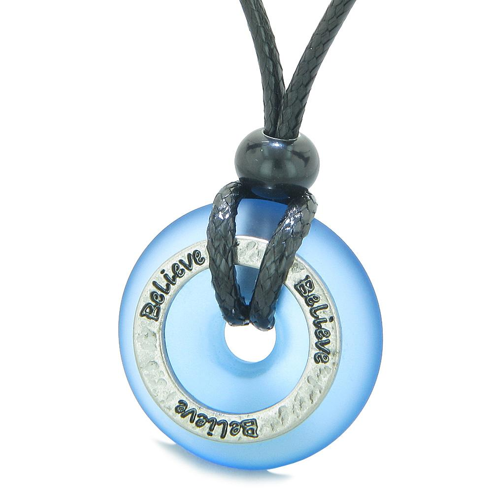 Inspirational Sea Glass Lucky Could Blue Donut Hammered Brass BELIEVE Energy Circle Adjustable Necklace