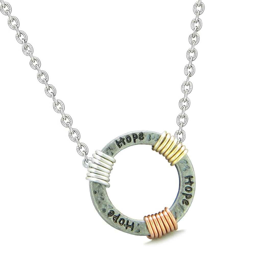 Inspirational Hope Ring Rose-Yellow-Gold-Silver-Tone Tri Color Amulet Pendant 18 Inch Necklace