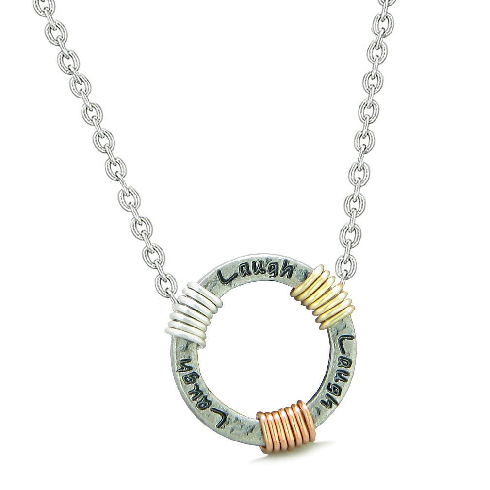 Inspirational Laugh Ring Rose-Yellow-Gold-Silver-Tone Tri Color Amulet Pendant 22 Inch Necklace
