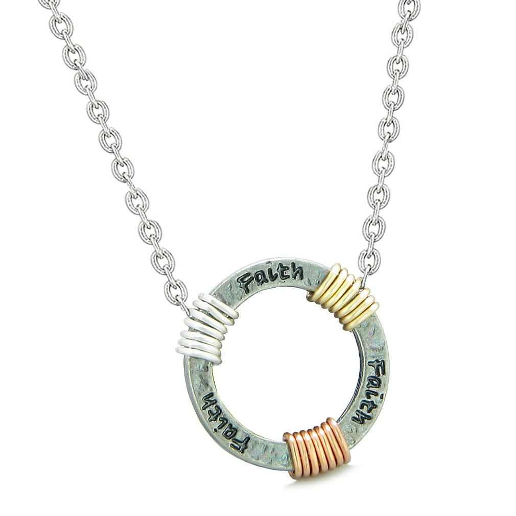 Inspirational Faith Ring Rose-Yellow-Gold-Silver-Tone Tri Color Amulet Pendant 22 Inch Necklace