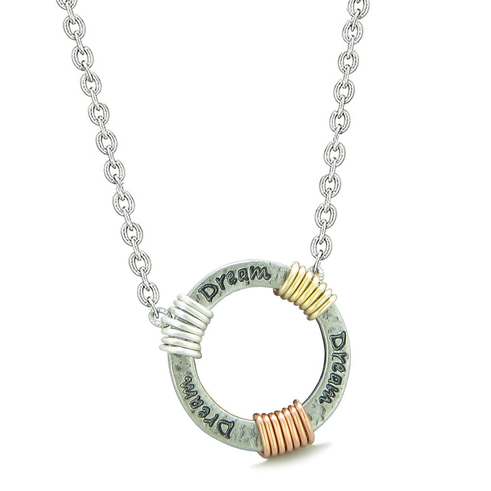 Inspirational Dream Ring Rose-Yellow-Gold-Silver-Tone Tri Color Amulet Pendant 22 Inch Necklace