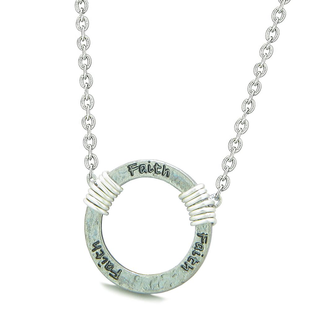 Inspirational Hammered Faith Ring Silver-Tone Positive Energy Amulet Pendant 18 Inch Necklace