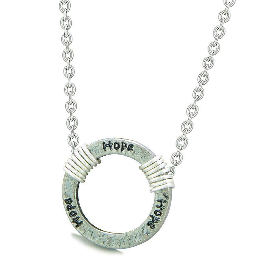 Inspirational Hammered Hope Ring Silver-Tone Positive Energy Amulet Pendant 22 Inch Necklace