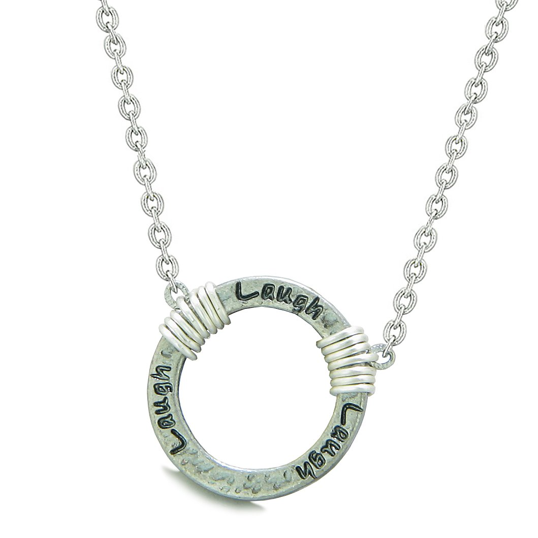 Inspirational Hammered Laugh Ring Silver-Tone Positive Energy Amulet Pendant 18 Inch Necklace