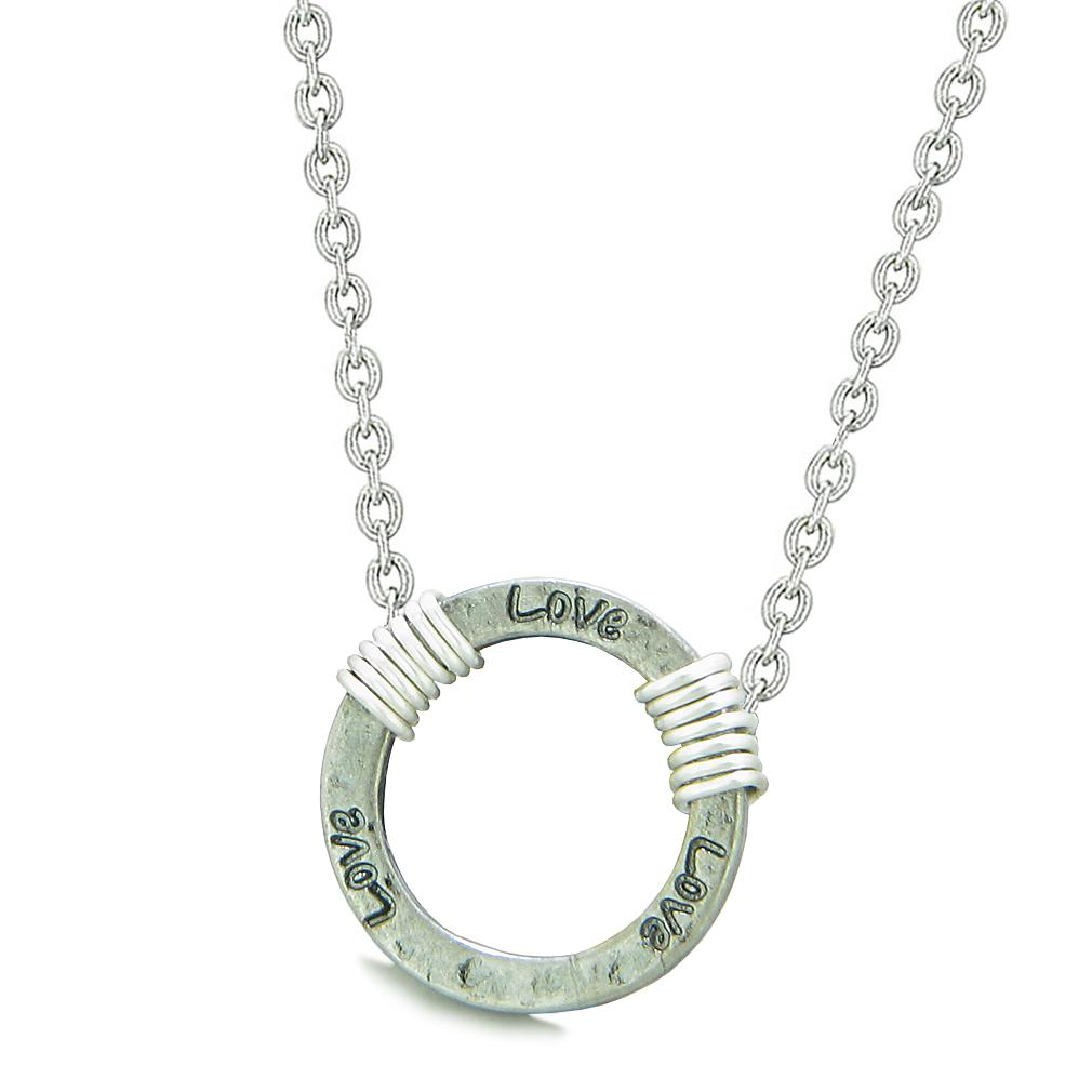 Inspirational Hammered Love Ring Silver-Tone Positive Energy Amulet Pendant 18 Inch Necklace