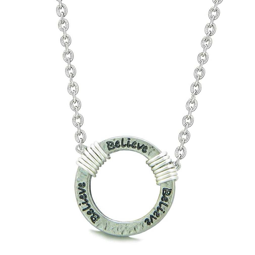 Inspirational Hammered Believe Ring Silver-Tone Positive Energy Amulet Pendant 22 Inch Necklace