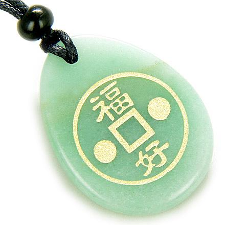 Fortune Lucky Coin Circle Aventurine Amulet Word Stone Necklace