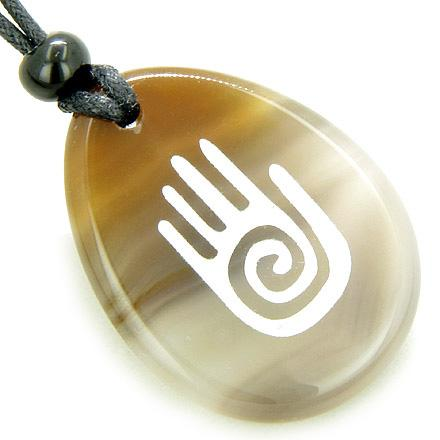 Infinity Protection Buddha Hand Amulet Natural Agate Good Luck Necklace