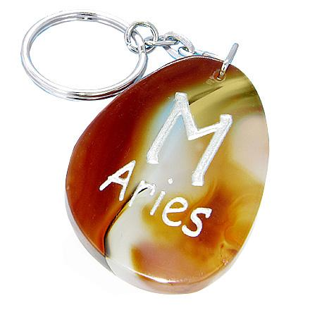 Natural Agate Aries Lucky Astrological Rune Keychain