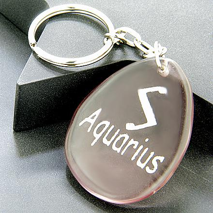 Amethyst Aquarius Lucky Astrological Rune Keychain