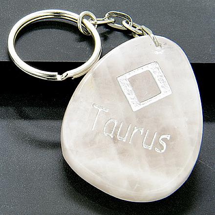 Rose Quartz Taurus Lucky Astrological Rune Keychain