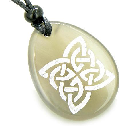 Magic Celtic Shield Knot Good Luck Amulet Word Stone Necklace