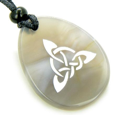 Magic Celtic Triquetra Knot Good Luck Amulet Word Stone Necklace