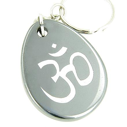 Protection And Lucky Om Symbol Hematite Gemstone Keychain