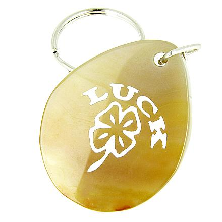 Lucky Clover Wish Stone Natural Agate Gemstone Keychain