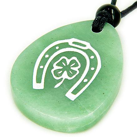 Money Talisman Lucky Horse Shoe and Clover Wish Stone Necklace