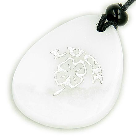 Lucky Clover Wish Stone White Jade Gemstone Necklace
