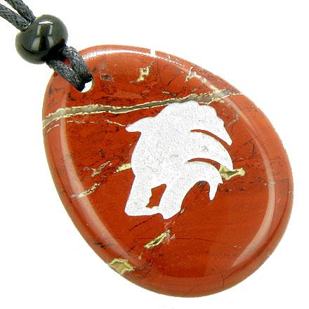 Protection Wolf Head Believe Amulet Word Stone Lucky Necklace