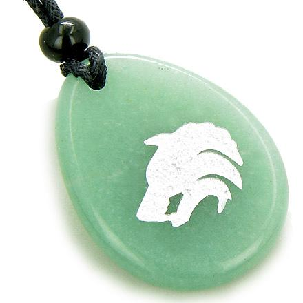 Protection Wolf Head Money Amulet Word Stone Lucky Necklace