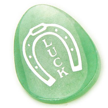 A Money Talisman Word Stone Lucky Horse Shoe In Aventurine