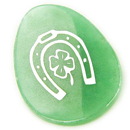 A Money Talisman Word Stone Horse Shoe And Clover In Aventurine