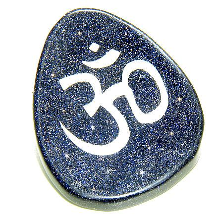 Good Luck Talisman Word Stone Om Symbol In Blue Gold Stone