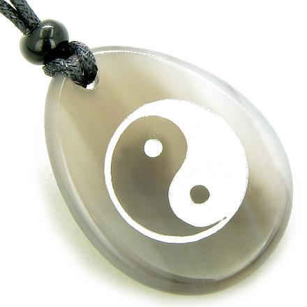 Lucky Ying Yang Balance Amulet Good Luck Word Stone Necklace