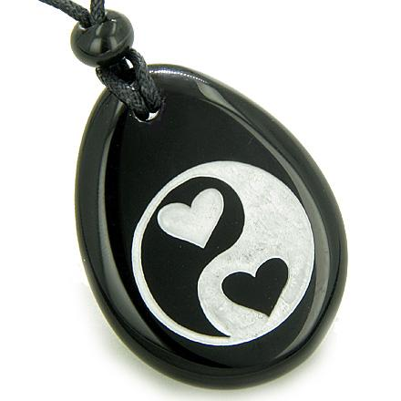 Love Connection Hearts Ying Yang Magic Spiritual Amulet Black Onyx Pendant Necklace
