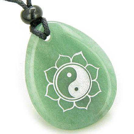 Magic Ying Yang and Lotus Sun Circle Amulet Green Aventurine Lucky Wish Stone Necklace